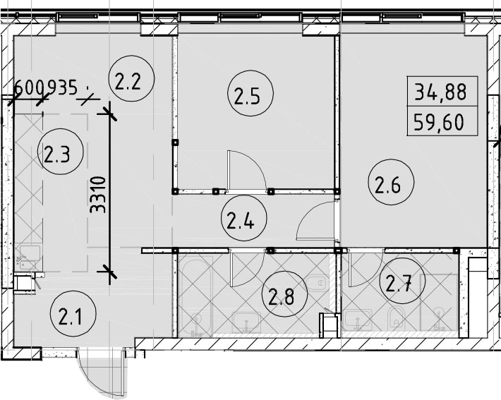 3Е-к.кв, 59.6 м²