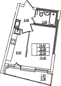 1-комнатная, 32.49 м²– 2