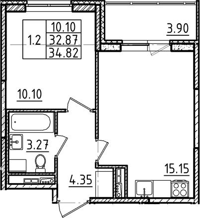 2Е-к.кв, 34.82 м², 3 этаж
