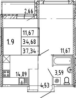 2Е-комнатная квартира, 36.01 м², 13 этаж – Планировка