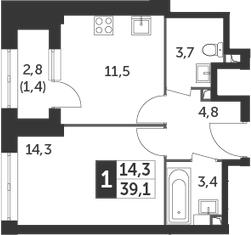 1-к.кв, 39.1 м², 2 этаж