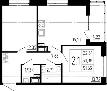 3Е-к.кв, 50.38 м²