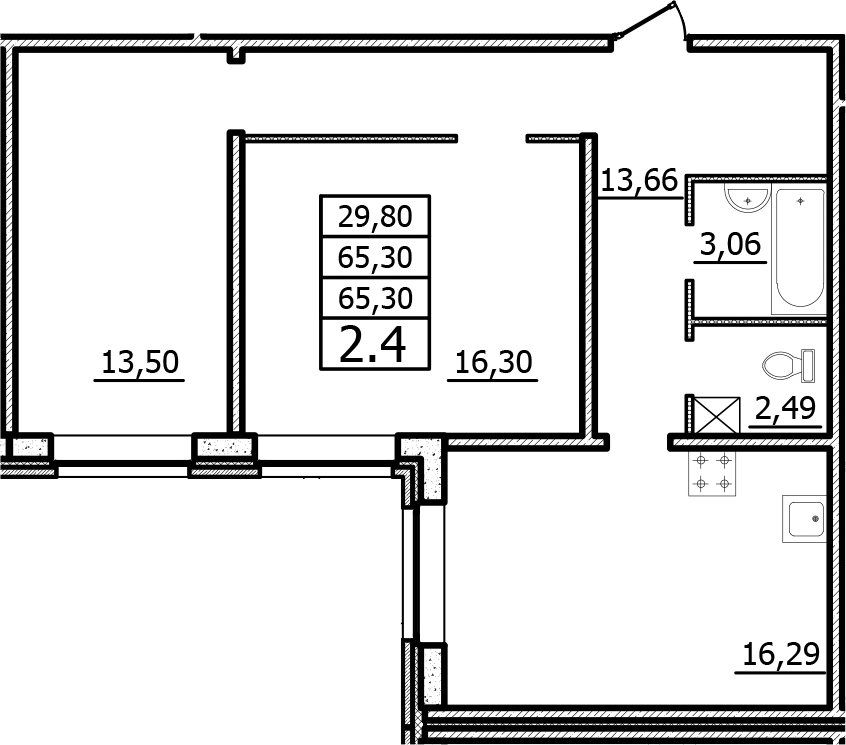 2-к.кв, 65.3 м²