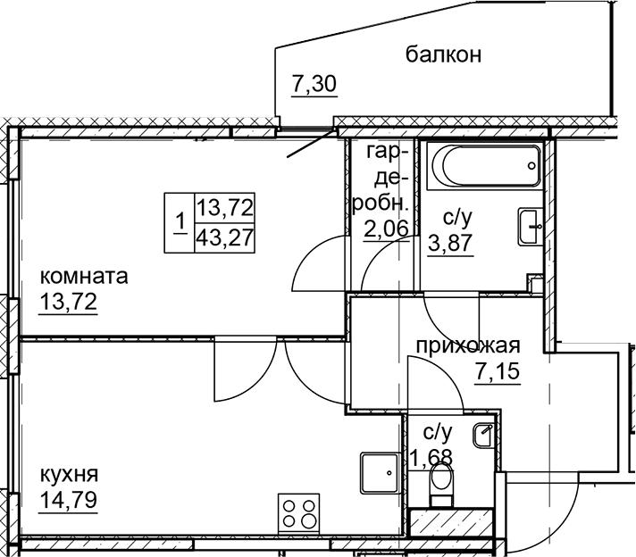 2Е-комнатная, 43.27 м²– 2