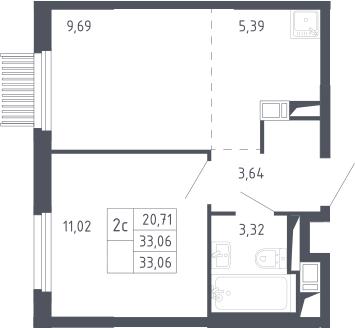 2Е-комнатная, 33.06 м²– 2