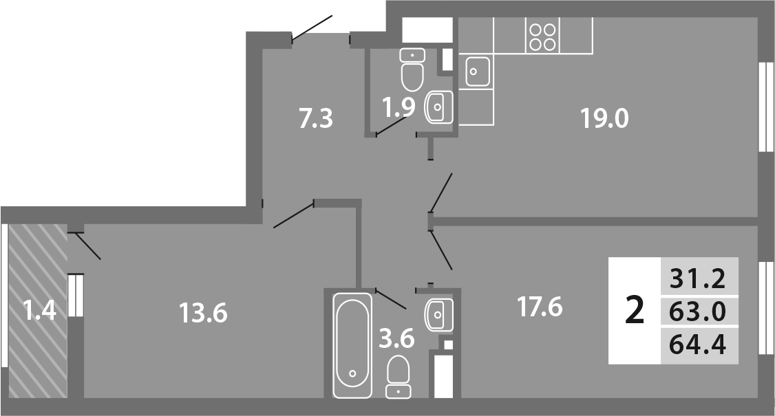 3Е-комнатная, 64.44 м²– 2