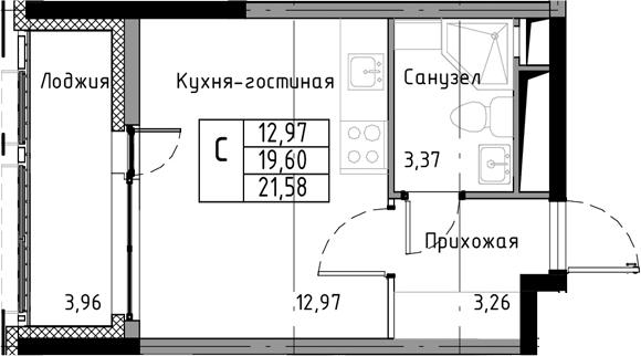 Студия, 21.58 м², 6 этаж