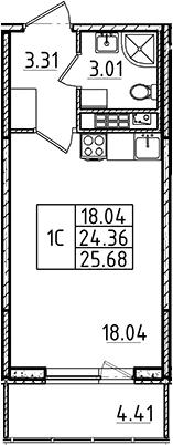 Студия, 24.36 м²– 2