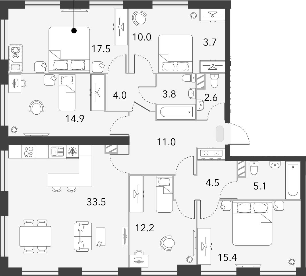 5-комнатная, 138.2 м²– 2