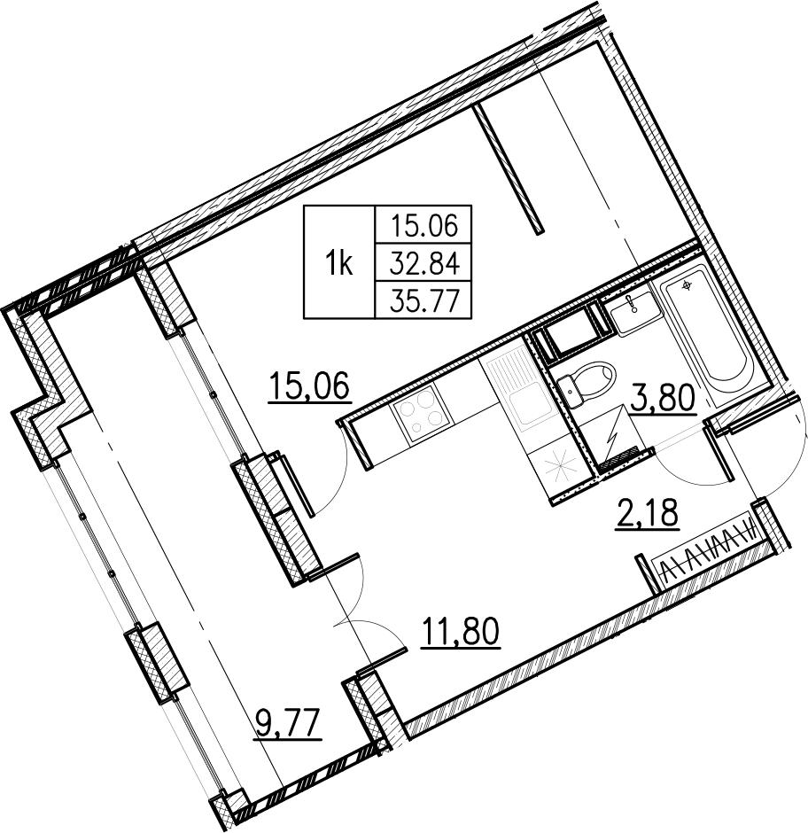 1-комнатная, 35.77 м²– 2