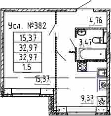 1-к.кв, 32.97 м²