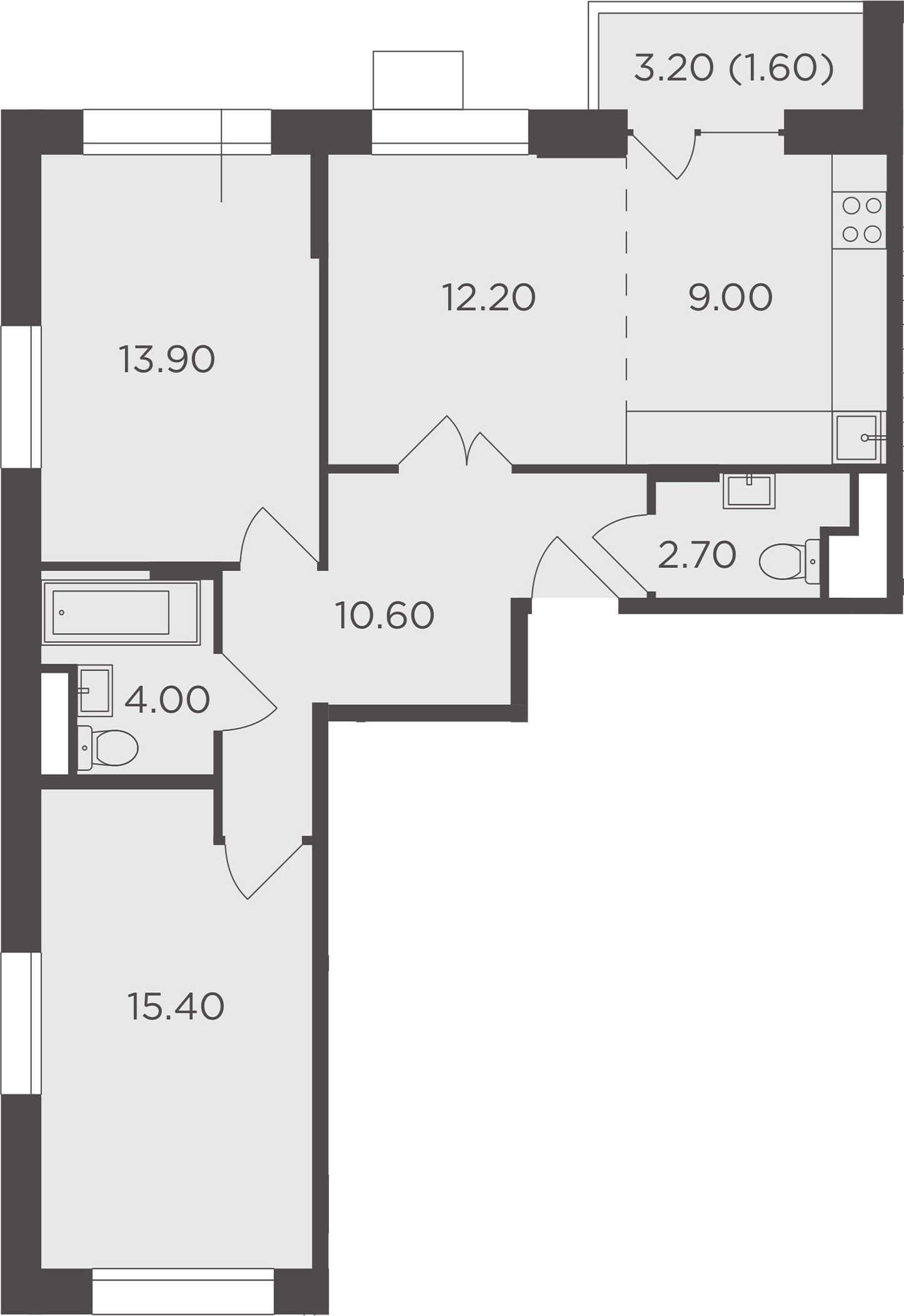 3Е-к.кв, 69.4 м²