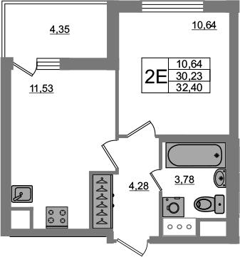1-к.кв, 34.57 м²