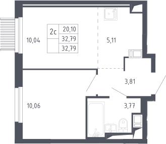 2Е-комнатная, 32.79 м²– 2