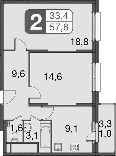 2-к.кв, 60.13 м²
