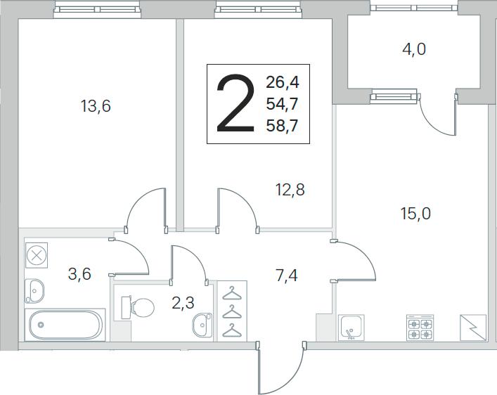 3Е-к.кв, 54.7 м²