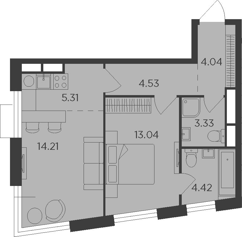 2Е-комнатная квартира, 48.88 м², 3 этаж – Планировка
