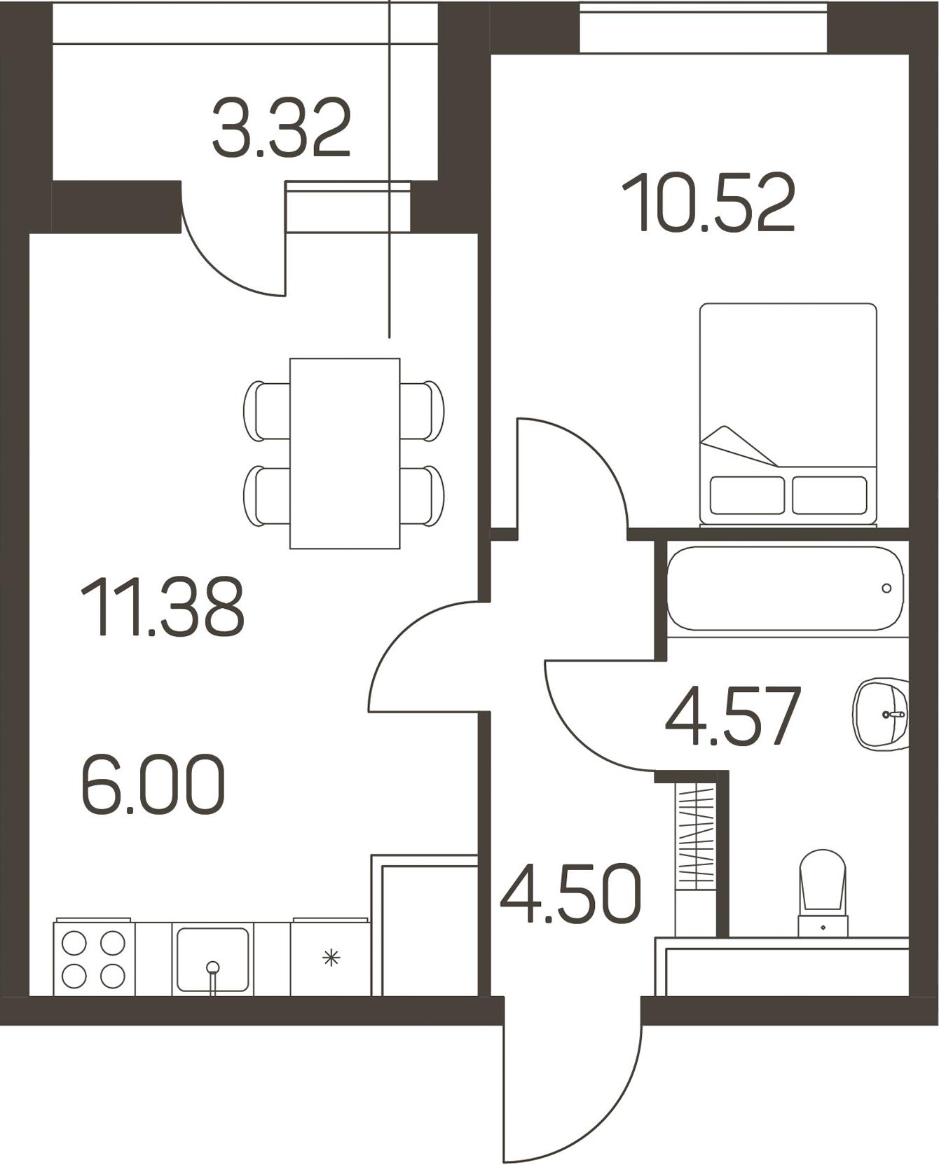 2Е-к.кв, 38.63 м²