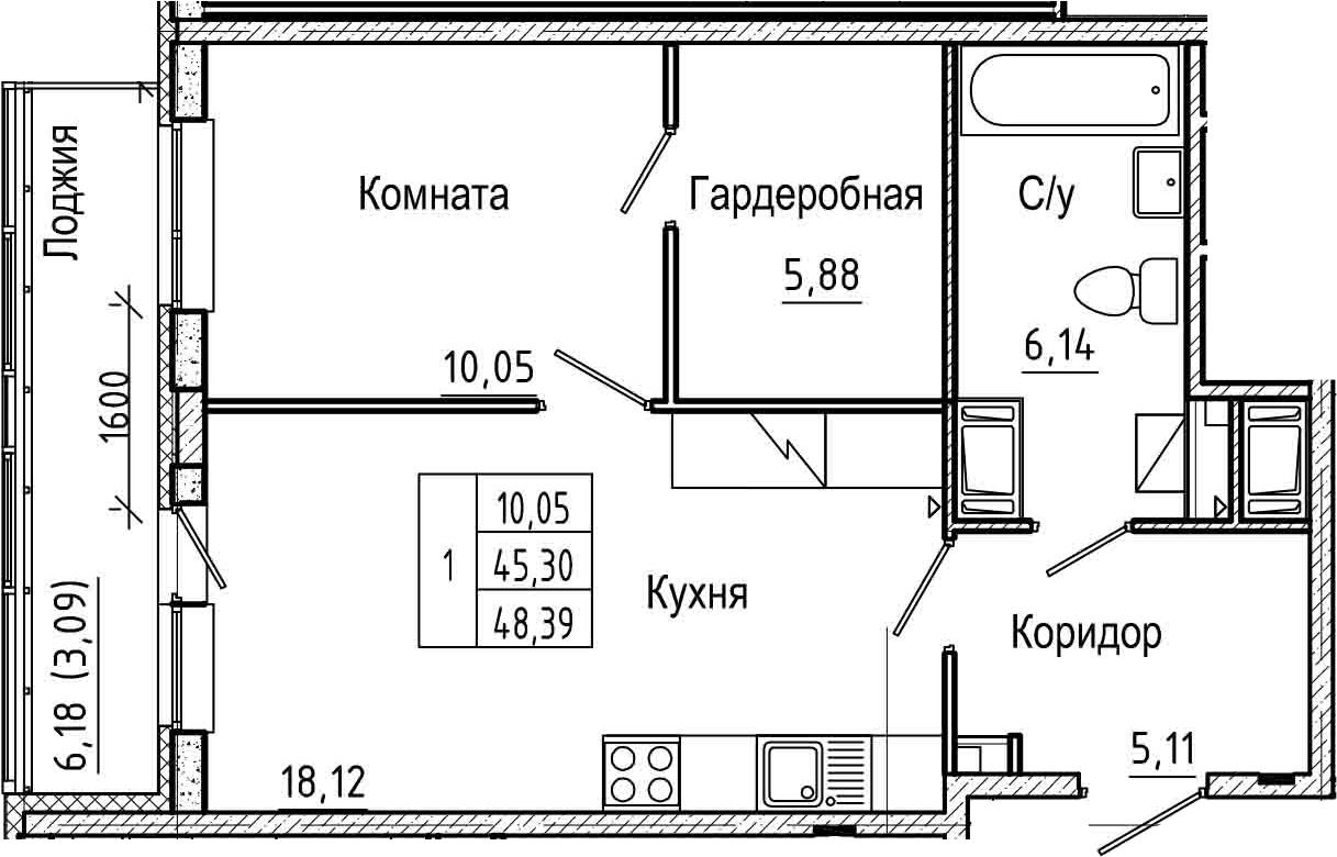 2Е-комнатная, 48.39 м²– 2