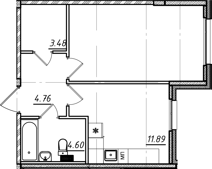 1-комнатная, 41.82 м²– 2