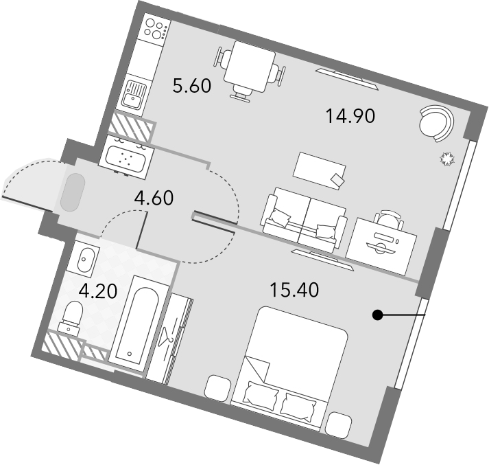 2Е-комнатная квартира, 44.7 м², 11 этаж – Планировка