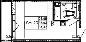 Студия, 34.47 м²– 2