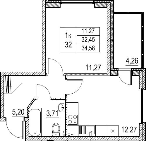 1-к.кв, 34.58 м²