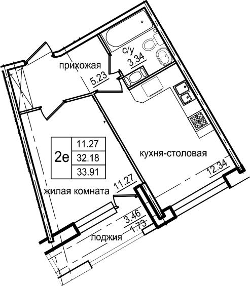 2Е-к.кв, 33.91 м²