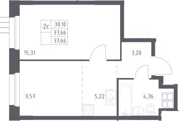 2Е-к.кв, 37.7 м², 12 этаж