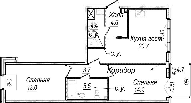 3Е-к.кв, 70.7 м², 7 этаж