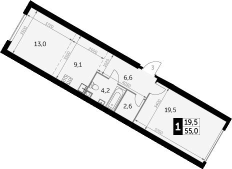 1-к.кв, 55 м², от 40 этажа