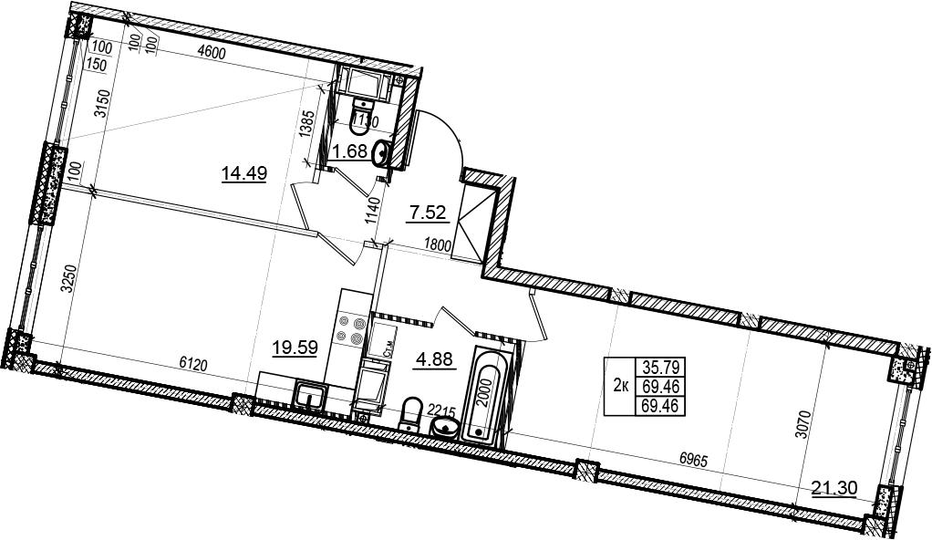 3Е-комнатная, 69.46 м²– 2
