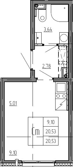Студия, 20.53 м²