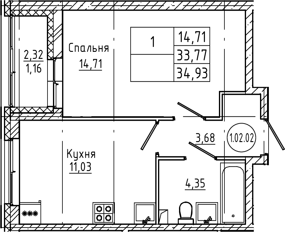 1-к.кв, 34.93 м², 2 этаж