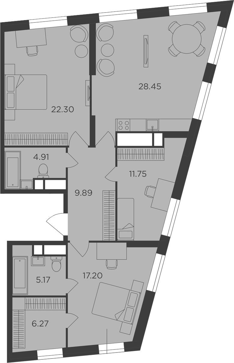 3-к.кв, 105.94 м²