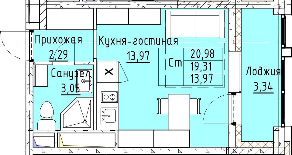 Студия, 20.98 м², 9 этаж