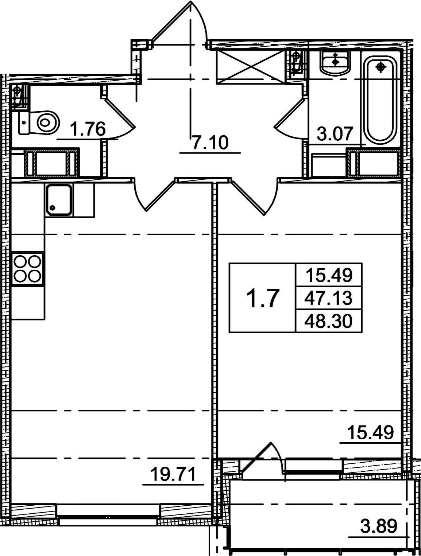 2Е-комнатная, 48.3 м²– 2