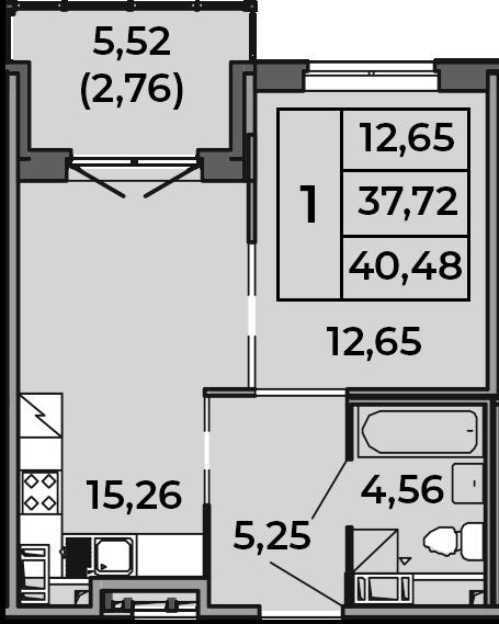 2Е-к.кв, 40.48 м², от 2 этажа