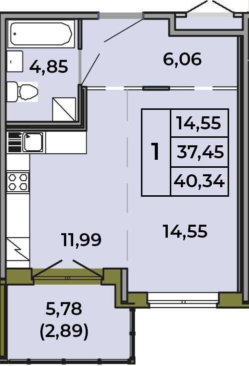 Студия, 37.36 м², 1 этаж