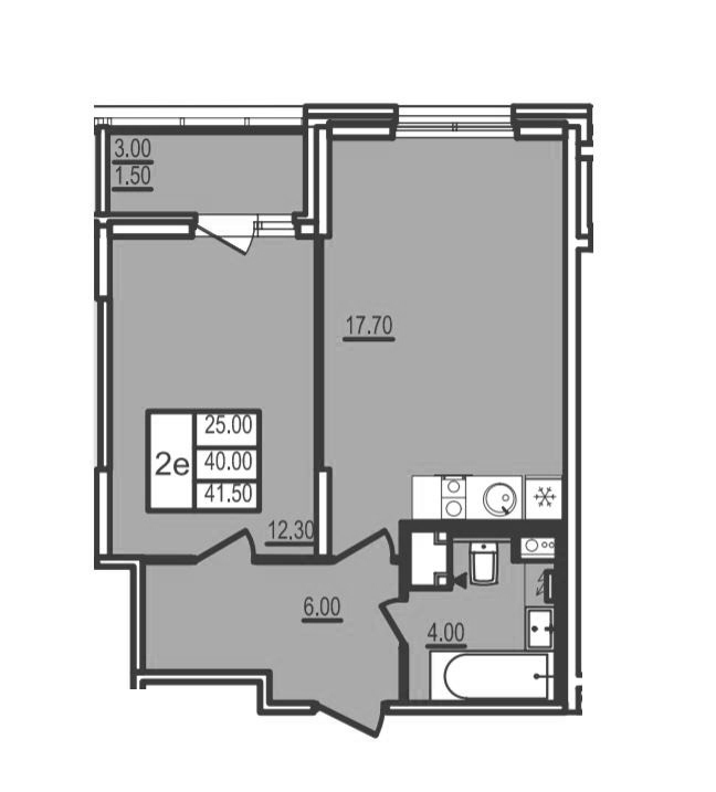 2Е-к.кв, 41.5 м²