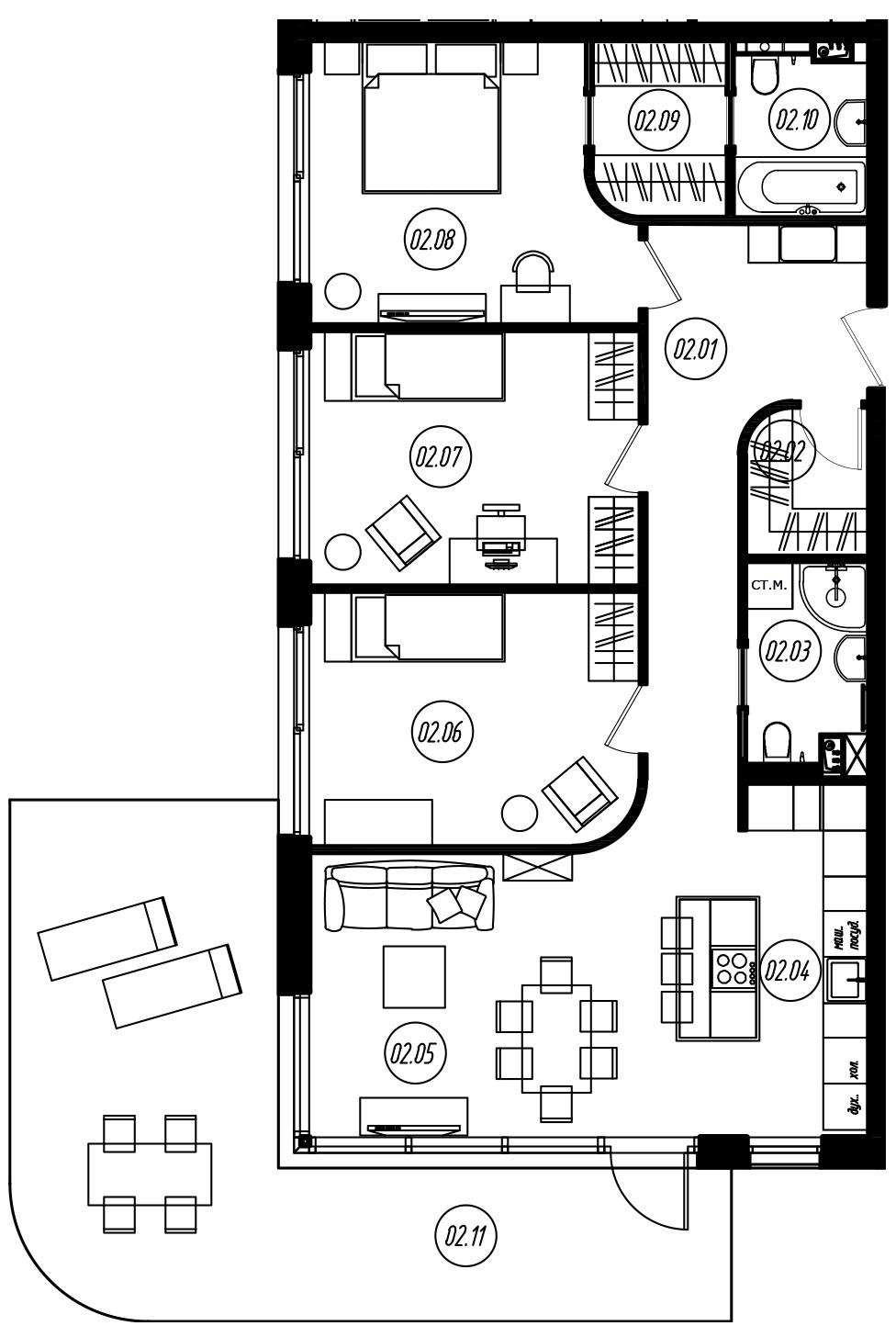 4Е-комнатная, 99.68 м²– 2