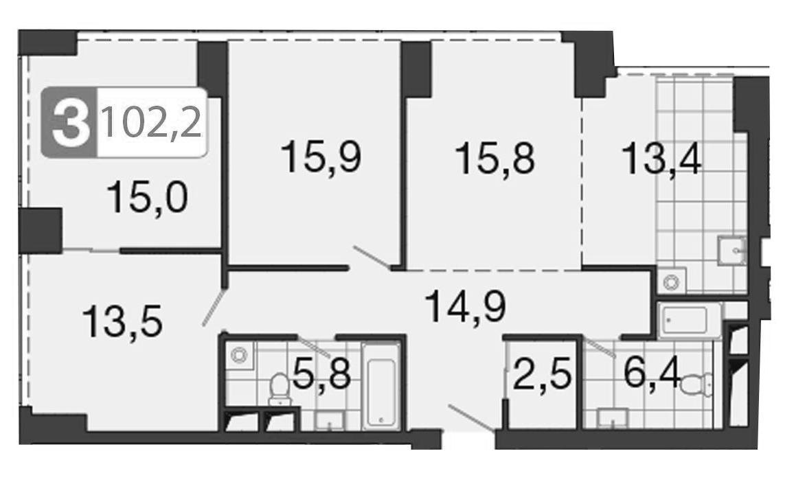 4-к.кв (евро), 103.3 м²