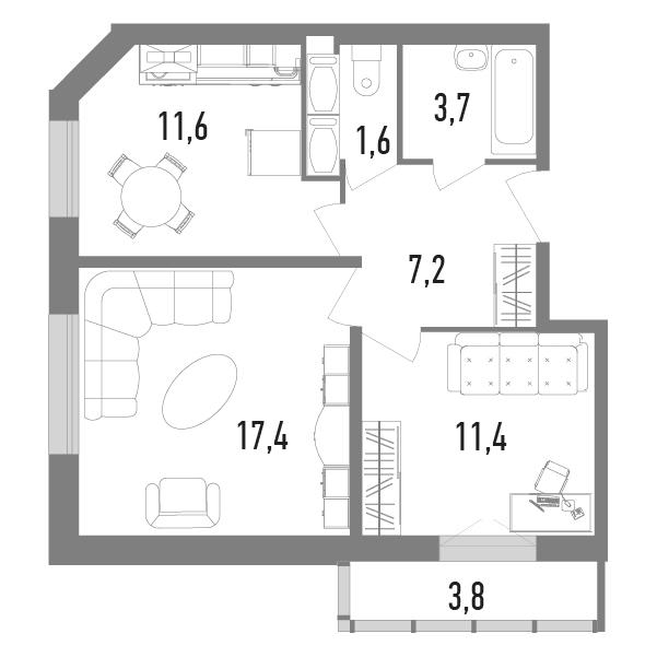 2-к.кв, 54.1 м²