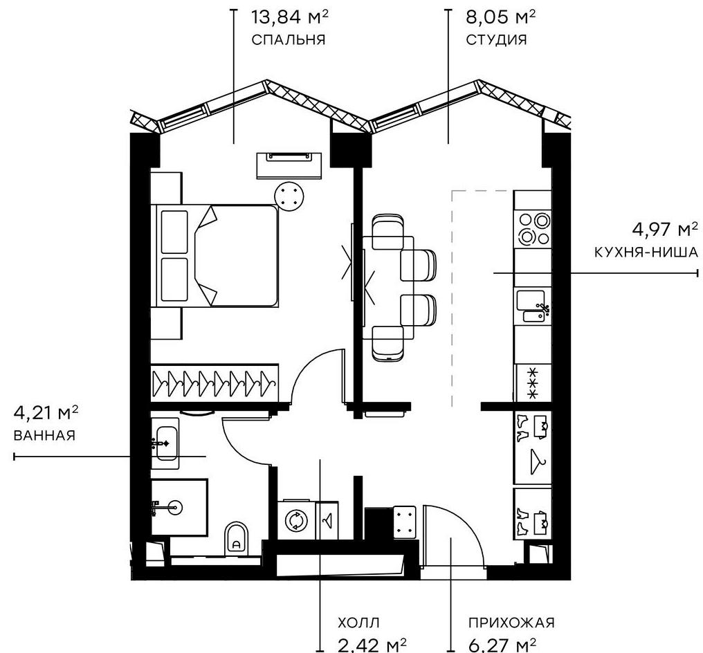 2Е-комнатная, 39.76 м²– 2