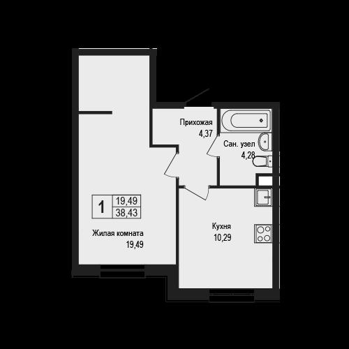 1-к.кв, 38.43 м²