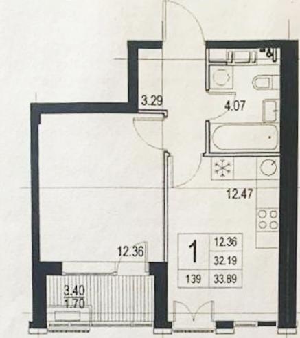 1-к.кв, 29.82 м²