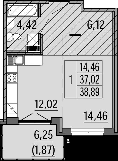 Студия, 38.89 м², 4 этаж – Планировка