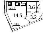 Студия, 21.3 м²