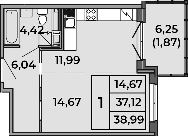 Студия, 38.99 м²– 2