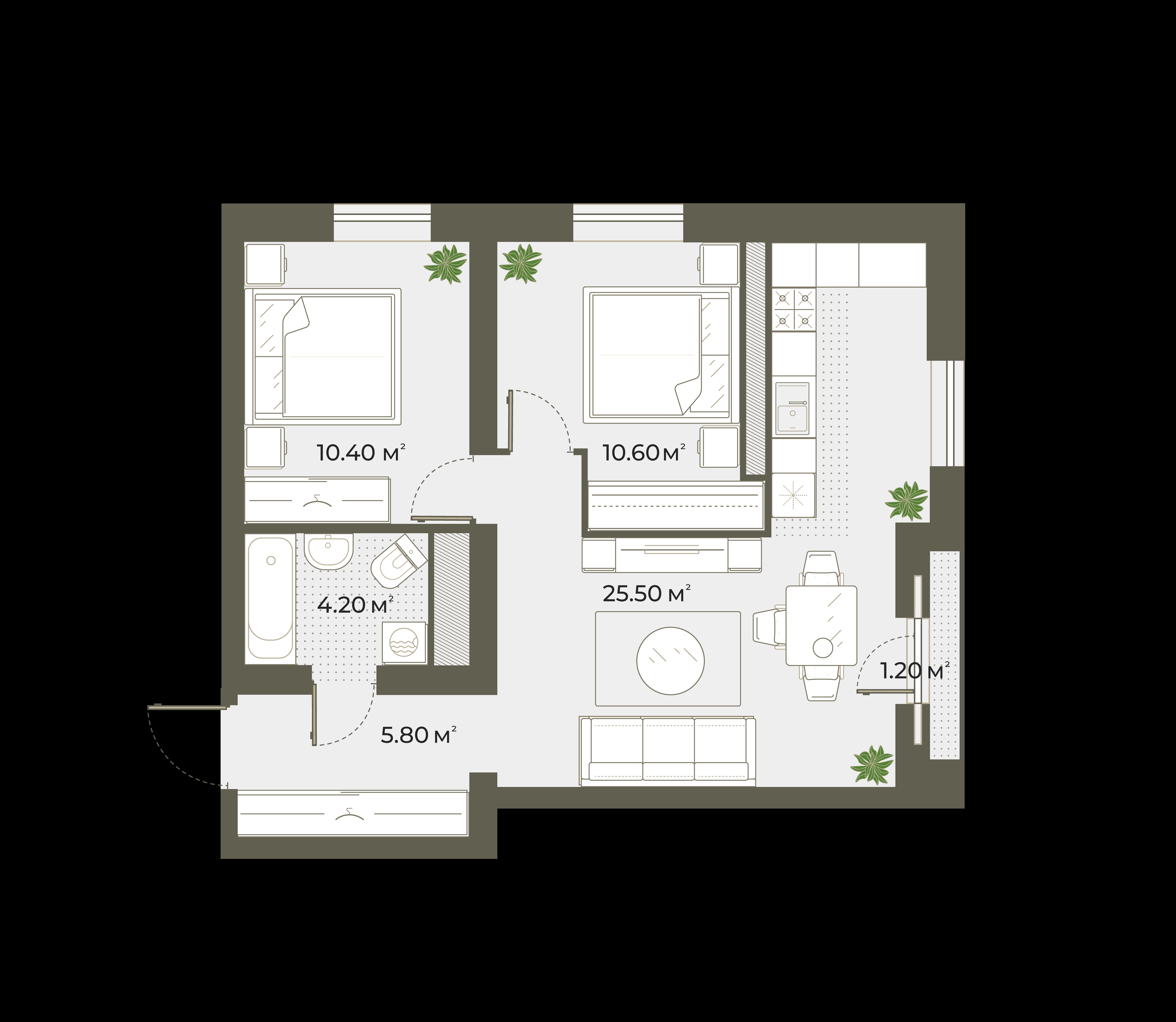 3Е-к.кв, 57.1 м², 4 этаж